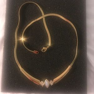 Jewelry - Gold necklace with Opal and diamond accents.